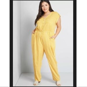 ModCloth Easy Going Yellow Stripe Jumpsuit NWOT 2X